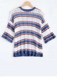 Stylish Stripe Round Neck 3/4 Sleeve Knitwear For Women -