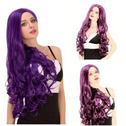 Charming Long Fluffy Wavy Side Parting Purple Synthetic Capless Cosplay Wig For Women -