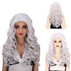 Vogue Long Loose Curly Silver White Synthetic Capless Cosplay Wig For Women