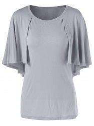 Fashionable 3/4 Sleeve Short Sleeve Solid Color Loose-Fitting T-Shirt - GRAY XL