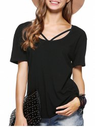 Simple Cut Out Solid Color T-Shirt For Women -