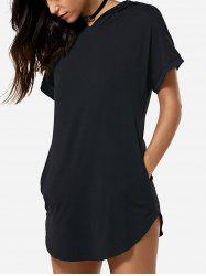 Hooded Asymmetric T Shirt Tunic Dress - BLACK