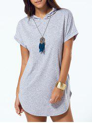 Hooded Asymmetric T Shirt Tunic Dress
