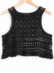 Fashionable Hollow Out Knitted Crop Top For Women -
