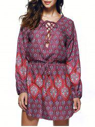 Bohemian Lace Up Drawstring Print Tunic Dress - COLORMIX