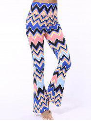 High Waist Zigzag Bell Bottom Printed Pants