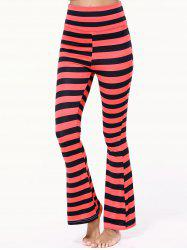 High Waist Striped Bell Bottom Stretchy Pants -