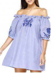 Off The Shoulder Blue Stripe Embroidered Frilly Loose Dress -