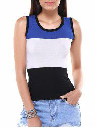 Casual Color Block Knitted Tank Top For Women -