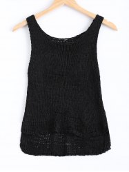 Simple Solid Color Knitted Tank Top For Women -