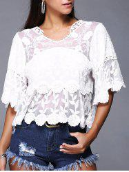 Chic Women's Crochet-Trim Bell Sleeves Lace Blouse -