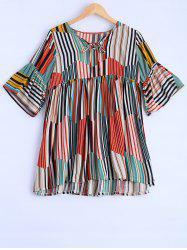 Plus Size Sweet Colorful Striped Blouse - COLORMIX