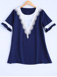 Plus Size Lace Trim Blouse -
