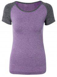 Color Block Sport Running T-Shirt - PURPLE