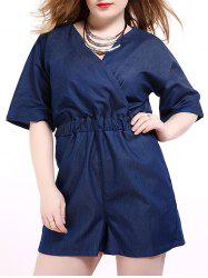 Plus Size Surplice Short Denim Romper with Pocket