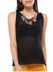 Asymmetric See-Through Back Buttoned Top -