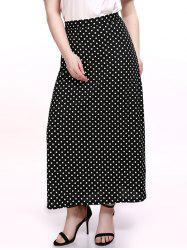 Oversized Chic Polka Dot Print Maxi Skirt - BLACK