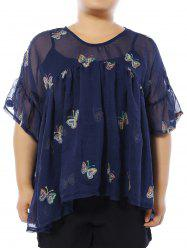 Plus Size Butterfly Embroidered Blouse with Camisole
