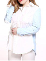 Plus Size Chic Color Block Boyfriend Shirt -