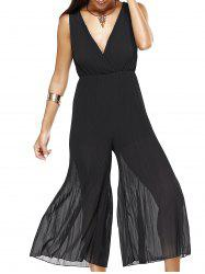 Plunging Neck Lace-Up Wide Leg Jumpsuit -