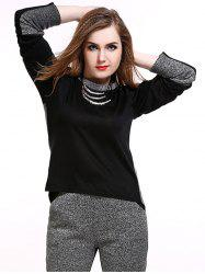 Plus Size Retour Slit T-Shirt Two Tone -