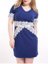 Plus Size Lace Trim Pencil Dress -