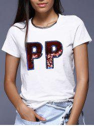 White Letter P Pattern Sequined T-Shirt -