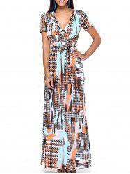 Plunging Neck Print Belted Dress