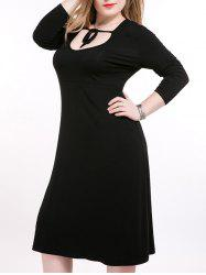 Plus Size Tie Front Long Sleeve Tee Dress