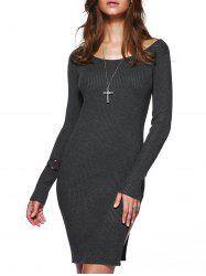 Slit Long Sleeve Bodycon Knit Dress