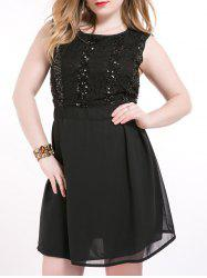 Oversized Chci Black Sequin Skater Dress -