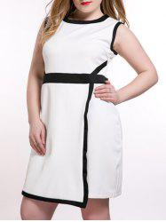 Oversized OL Style Color Block Overlay Dress -