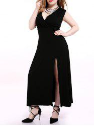 Plus Size Alluring High Slit Black Dress -