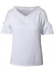 Sweet V-Neck Lace Splicing Women's T-Shirt -