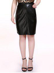 Plus Size Brief PU Black Bodycon Skirt