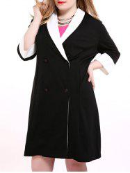 Plus Size Shawl Collar Double Breasted Coat - BLACK
