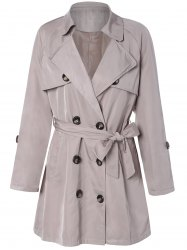 Plus Size Tie Belt Double Breasted Long Trench Coat - LIGHT KHAKI