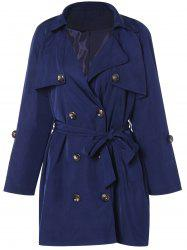 Plus Size Tie Belt Double Breasted Long Trench Coat - DEEP BLUE