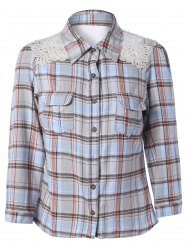 Lace Splicing Long Sleeve Pocket Design Plaid Shirt -