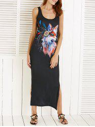 Scoop Neck Fox Pattern Slit Sleeveless Dress