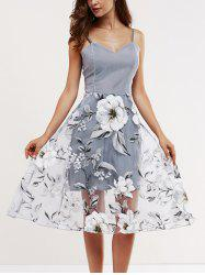 Voile Splicing Floral Print Cami Dress