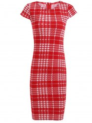 Bodycon Short Sleeve Round Neck Plaid Dress - RED