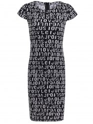 Bodycon Short Sleeve Round Neck Letter Print Dress -