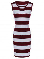 Sleeveless Hollow Out Striped Knitted Dress -