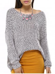 Casual Long Sleeve Boat Neck Solid Color Sweater -