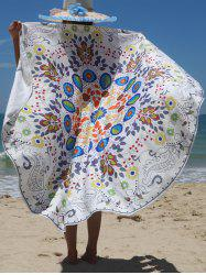 Floral Print Circle Beach Cover Up - COLORMIX