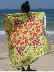 Circle Plant Print Beach Cover Up - FLUORESCENT YELLOW