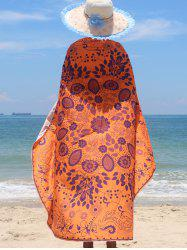 Tribal Floral Print Chiffon Beach Cape - ORANGE