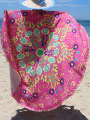 Circle Floral Pattern Beach Chiffon Cover Up - ROSE RED