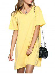 Cut Out Slit Pure Color Boyfriend Tee